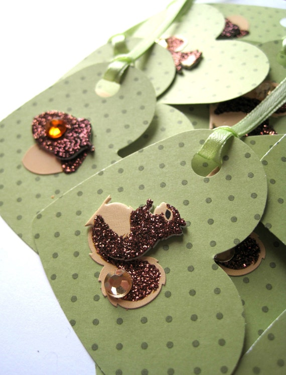 Squirrel, acorn tags - Woodland tags - handstamped, stamped tags - thanks so much - polka dots, green, cute - set of 8