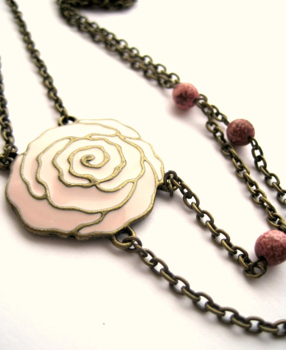 Rose necklace - pink rose, pink stone, pink necklace, ROMANTIC - Double strand necklace - Flower necklace, 2 chains