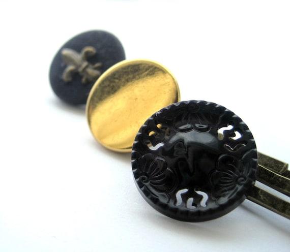 Navy bobby pins - button bobby pins, vintage - fleur de lys, french - Blue, dark blue, GOLD - set of 3, trio