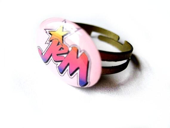 Pink ring - retro - 1980's vintage - Jem and the Holograms - 80's flashback ring - Jem logo cameo