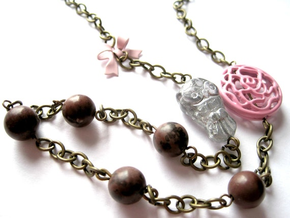 Silver necklace - pink necklace - Owl and stone - bow neklace - pink bow and pink rose filigree bead