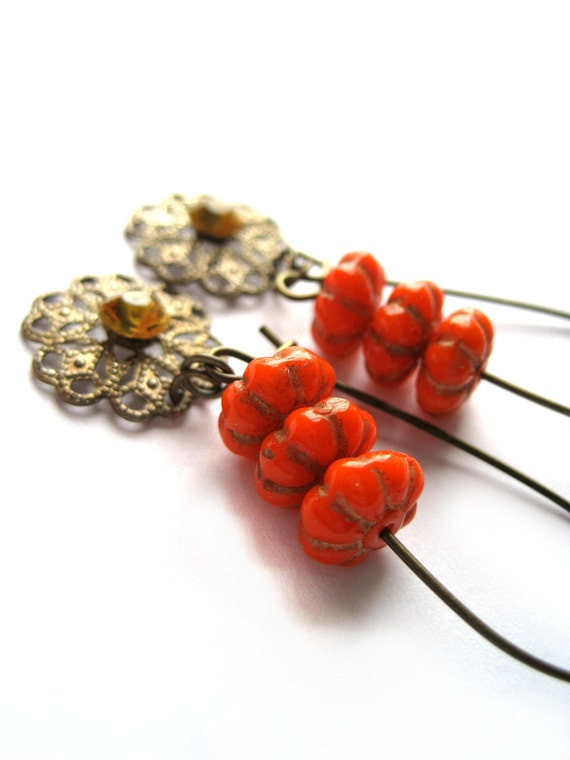 Orange earrings - vintage beads, vintage swarovski crystals, patina - vintage earrings - gold, fall colors, autumn trends