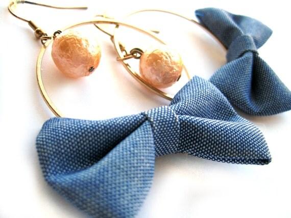 Denim bow earrings - Bow hoop earrings - vintage peach pearl bead  - denim, blue, gold - big