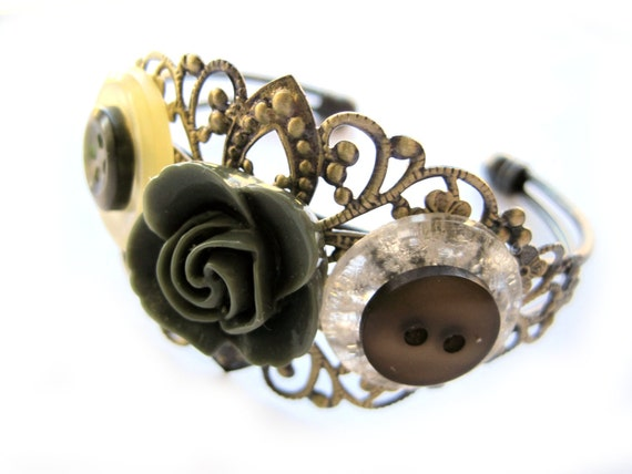 Green Cuff, kaki and brown bracelet - brass accents - flower cabochon, VINTAGE buttons - filigree cuff