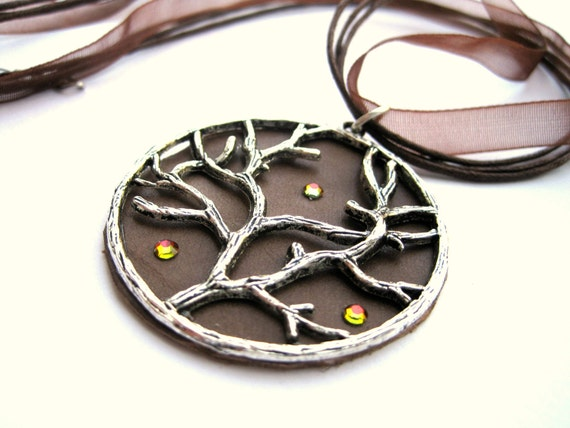 Tree necklace, branch - LEATHER disc, leather and silver pendant - BROWN, brown necklace - ribbon and cord choker