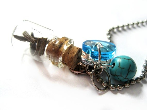 Blue necklace - Bottle necklace, Vial - Spices, herbs, dried ROSEMARY - heart charms, turquoise gemstone - Summer jewelry