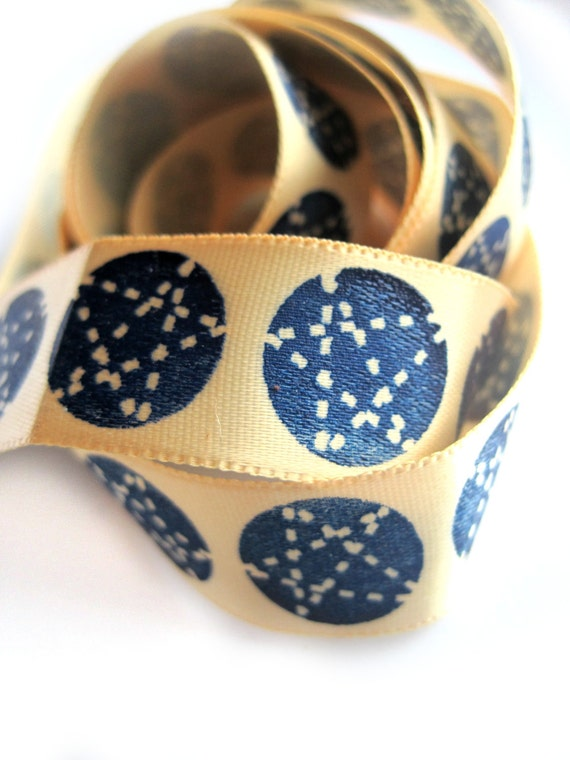 Star ribbon - star designs, astrology, astronomy, night sky - navy, blue, pale yellow, cream - 38 inches