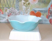 Hazel Atlas turquoise aqua blue and white Bowl, Crinoline pattern with ruffles all around edges
