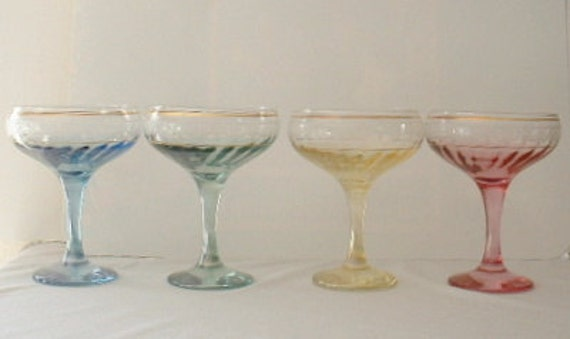 Venetian, Made in Italy, set, stemware, champagne glasses, or compote glasses, etched, crystal, lustre, gold decorations, Pastels