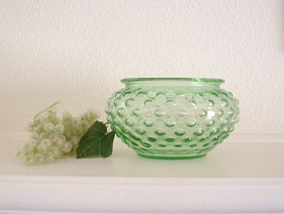 Hobnail Green Glass Bowl Vase. Vintage.  USA