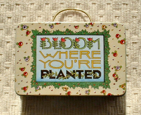 Mary Engelbreit, Bloom Where You are Planted, tiny metal tin for trinkets. Retired Engelbreit collectible