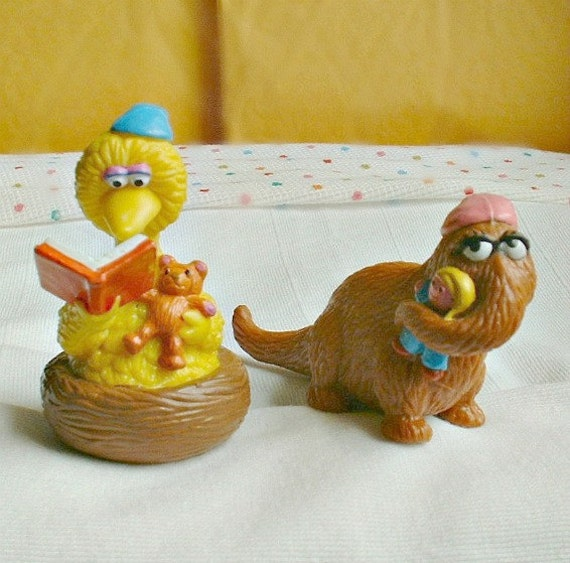 McDonalds Happy Meal Toys,two Sesame Street characters, Big Bird and Mr Snuffleupagus