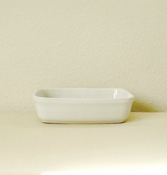 Reserved for Wendi,White Porcelain serving bowl Rectangle shape  White Small Retro kitchen