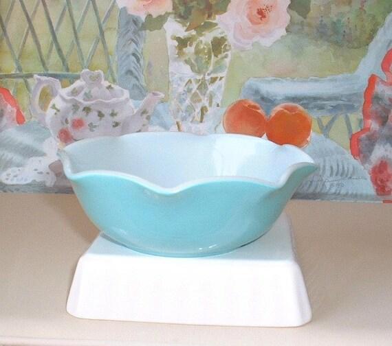 Hazel Atlas turquoise aqua blue and white Bowl, Crinoline pattern with ruffles all around edges