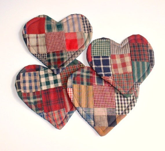 Four Heart patchwork quilt coasters,in rustic colors, handmade