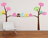 Fun birds on a tree line nursery vinyl wall decal