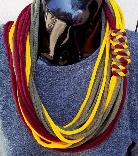 multi-color t-shirt scarf necklace with bracelets