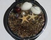 Bride or Bridesmaid - Under the Sea - Metal Round Compact Mirror - Real Sea shells & Starfish