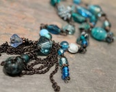 SOPHIEA,Beaded Necklace, Teal, Blue, Dark Mixed Metal