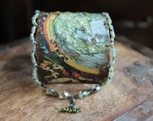EARTH ANGELS, Vintage tin cuff, beaded, blue, green, gold