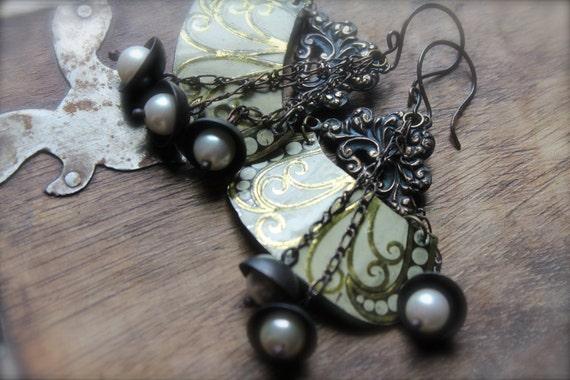 GYPSY BELLS, Vintage tin earrings, vintage brass, pearls, hand cut, rustic dangle, cream, dark assemblage