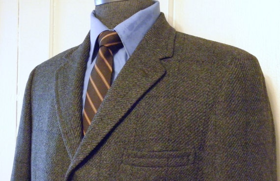 No Number VINTAGE SCOTTISH TWEED Briartex Thorn Proof Jacket Multi Browns and Greens Trad 3 2  Size 40 Tall