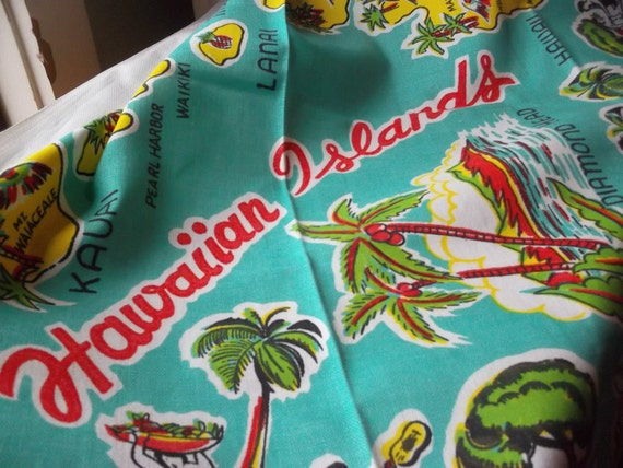 Vintage Hawaii Hawaiian Islands Souvenir Tablecloth