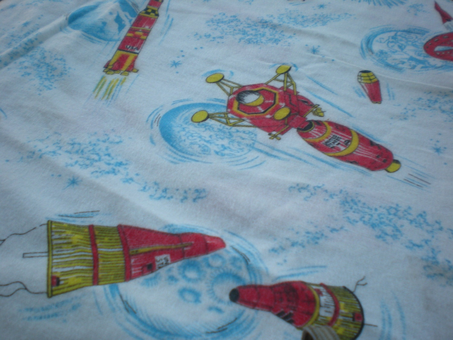 Sputnik 60 39 s vintage space age rocket fabric by retrokc on for Vintage space fabric
