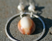 Holiday SALE** Cowrie Shell Necklace with Pearls and Sterling Silver Hoop
