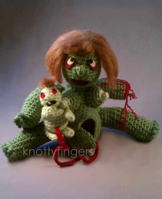 MATURE Zombie Birthing Doll - Crochet Handmade Designer Amigurumi