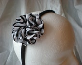 Zebra Ribbon Flower headband hair accessory black, white