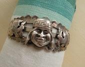 SPRING SALE Vintage Sterling Silver Aztec Cuff Bracelet from Peru Soooo Cool