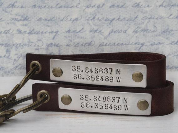Latitude Longitude Key Chains - Personalized Anniversary Gift, Wedding, Marraige