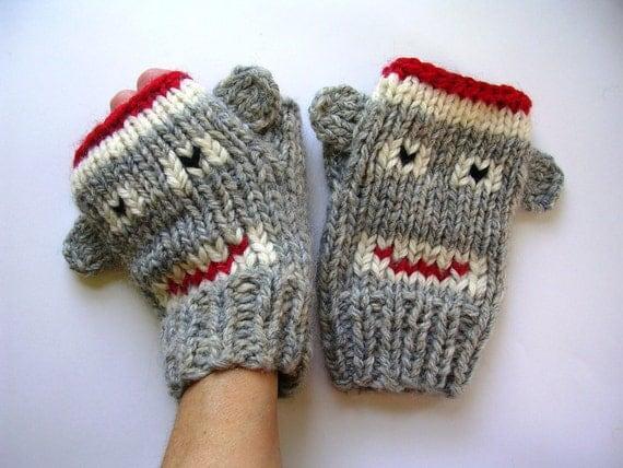 Sock Monkey Fingerless Mittens - Adult Fingerless Gloves-Mittens