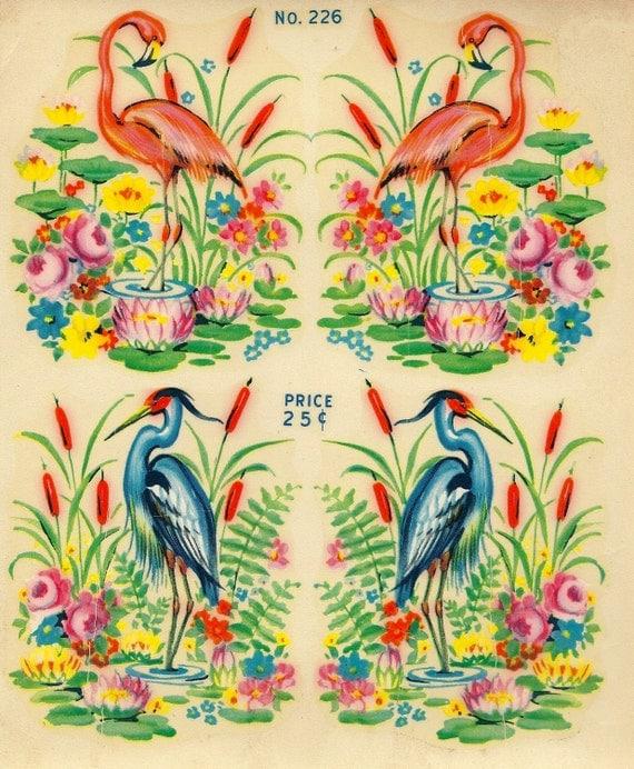 "Vintage Eagle Transfer ""Famous Artists Series"" - Flamingos & Herons  No. 226"
