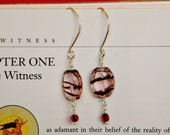Sterling silver dangle earrings with pink and garnet stripe drop glass bead and custom earwires
