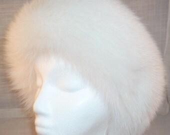 White Fox Fur Headband new made in the usa