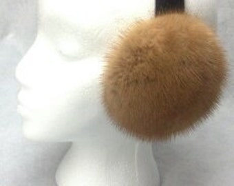 Whiskey Mink Fur Earmuffs new made in the usa