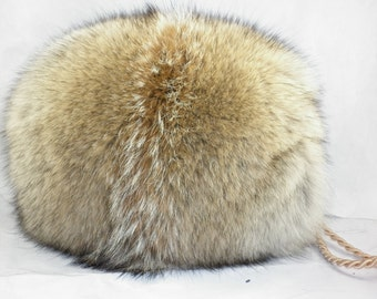 Real Coyote Fur Muff  new made in usa handmuff