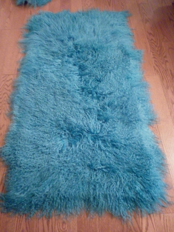 Real Tibet Mongolian Lamb fur Dyed Turquoise fur plate  rug  throw   new authentic