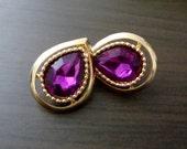 Vintage Amethyst Teardrop Clip-on Earrings