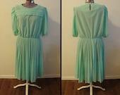 RESERVED FOR AYLEY - Vintage 1960s-1970s Dress - Mint Swiss Dot Dress (m-l)