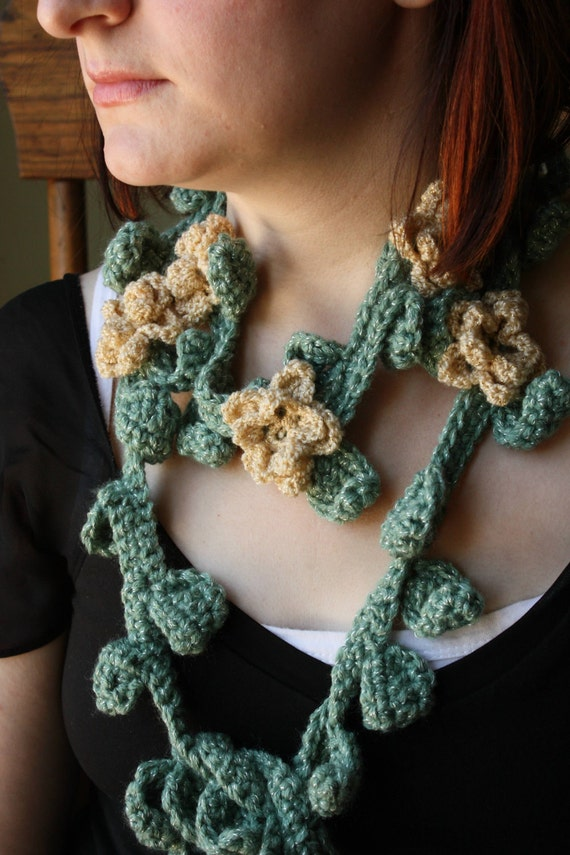 Scarf with  Crocheted Ivy Leaves and Flowers FREE SHIPPING in USA and Canada