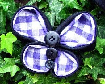 Black & White Tartan Butterfly Brooch with Black Buttons