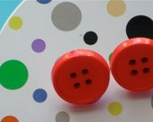 Red Button Post Earrings
