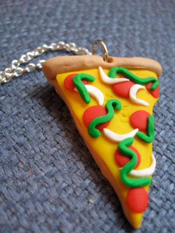 Polymer Clay Pizza Necklace
