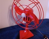 Vintage AirMaster Electric Fan Air Plane Type Fire Engine Red 8 inch One Speed