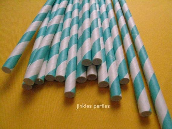 100 Aqua Striped Straws with FREE Printable DIY Flag
