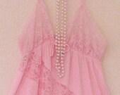 Vintage Sexy Romantic Funky Pink  Lace Slip Dress/ Peignoir