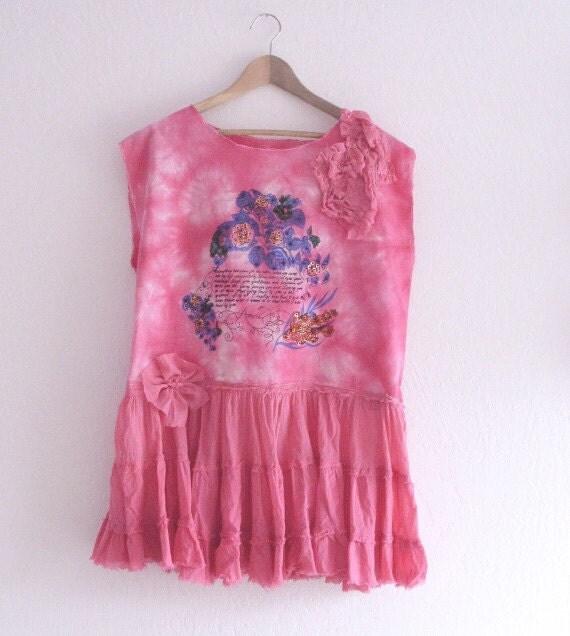 Shabby Chic Upcycled/ Mori Girls Oversize Tunic/ Handmade OOAK